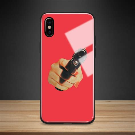 gun red aesthetic tempered glass phone case soft silicone