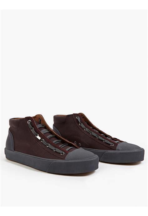 baseball sneakers lanvin burgundy leather hi top baseball sneakers in brown