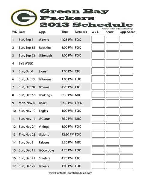 printable schedule for green bay packers pinterest discover and save creative ideas