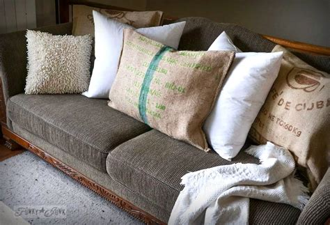burlap couch no sew burlap coffee bean sack sofa pillowsfunky junk