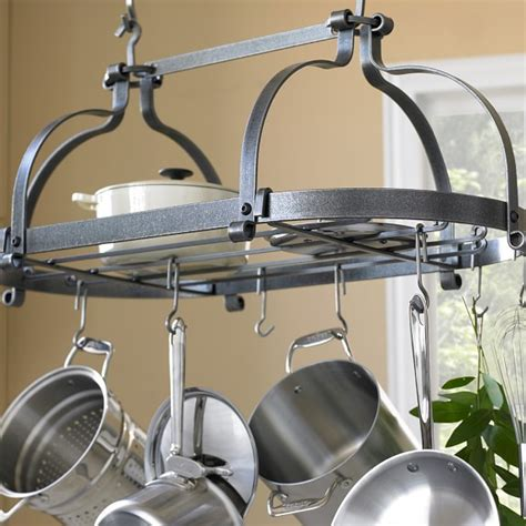 Enclume Double Dutch Crown Ceiling Pot Rack Hammered Pot And Pan Ceiling Rack
