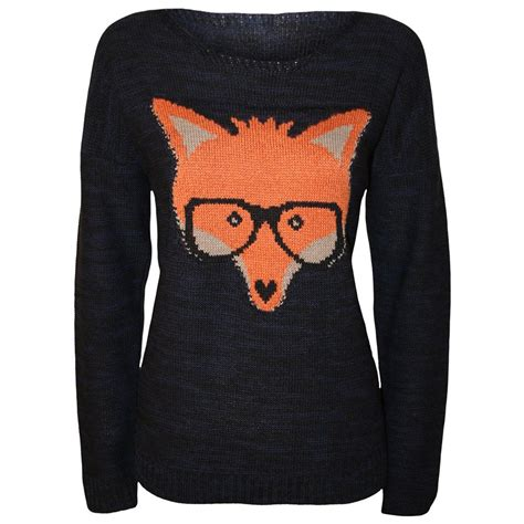 Sweater Moustache 54 new womens fox with glasses print knitted jumper