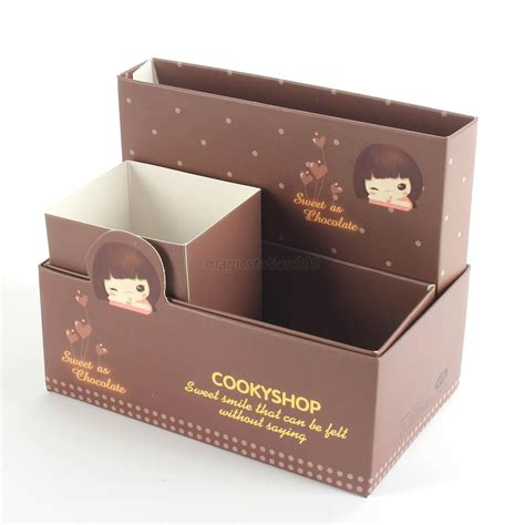 Cute Cartoon Paper Diy Stationery Makeup Cosmetic Storage Paper Desk Organizer