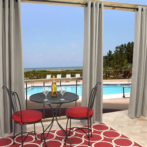Sunbrella Curtains Patio Sunbrella Outdoor Curtain With Grommets By Hatteras Outdoors 52 1 2 X 84 Inch Dove