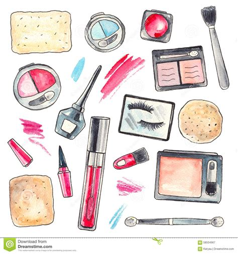October Contest At Lipstick Powder N Paint by Watercolor Makeup Products Set Stock Illustration Image