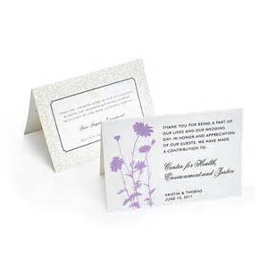 charity wedding favors tent cards