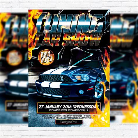 template tuning tuning car show premium flyer template cover