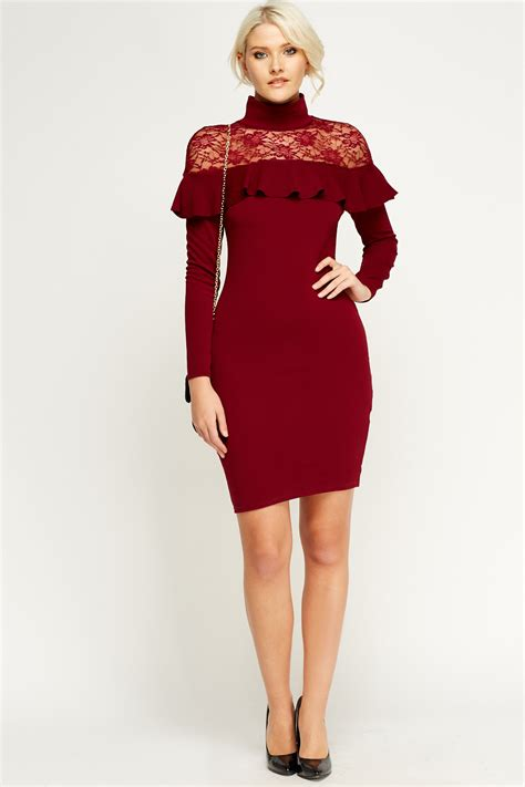 High Neck Maroon by Maroon Lace Insert Frilled High Neck Dress Just 163 5