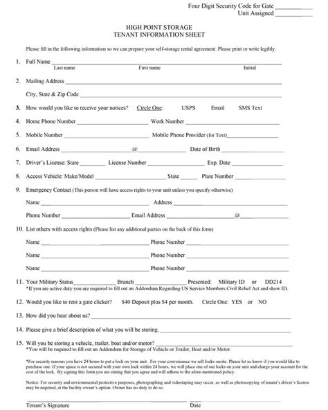 tenant information form best photos of renter information form tenant