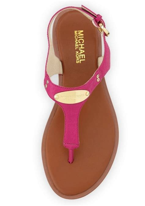Michael Kors Plate Fuschia new michael kors plate sandals leather fuschia pink