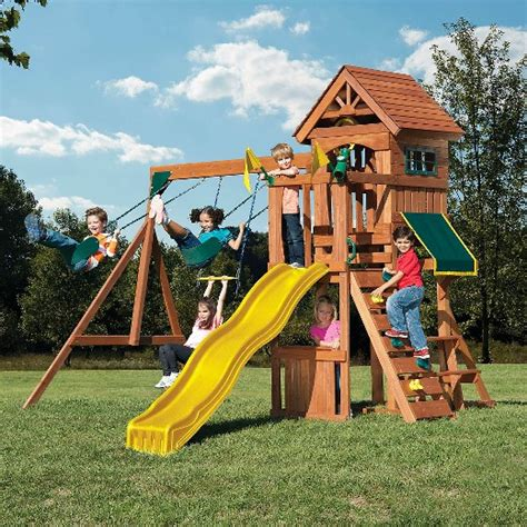 childrens wooden swing and slide sets swing n slide jamboree fort play set target