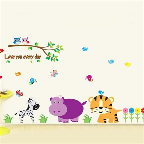 zoo wall stickers kindergarten zoo wall decal easy to peel and stick