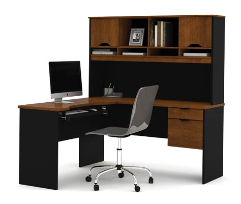 Computer Desk by Bestar Innova Tuscany Brown L Shaped Computer Desk 92420 63