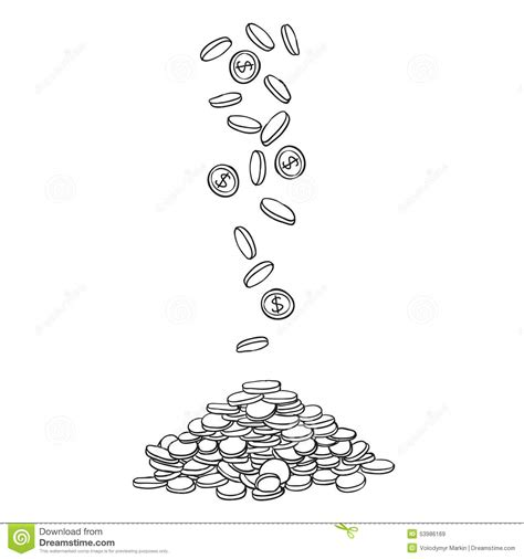 how to create money in doodle pile of coins doodle money stock vector image 53986169