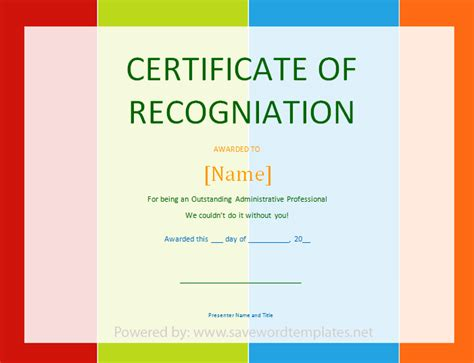 word template certificate of appreciation certificate of recognition save word templates