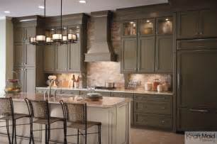 Kraftmaid Kitchen Island Kraftmaid Maple Cabinetry In Sage And Mushroom With Cocoa