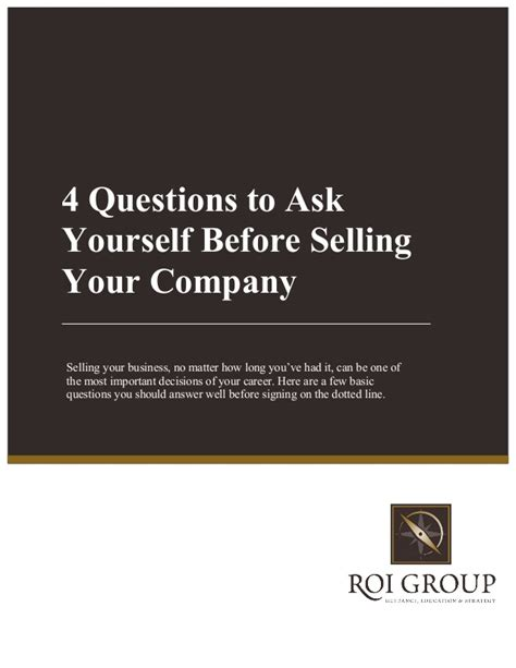 4 questions to ask yourself before selling your company