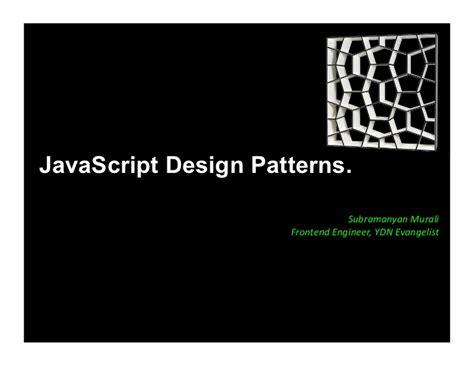 design pattern javascript pdf javascript design patterns