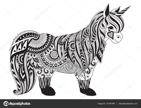 Zendoodle design av ponny för T Shirt grafik och vuxen bok