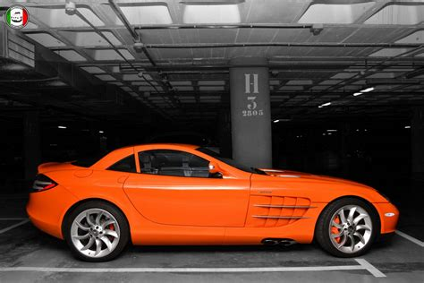 orange mercedes orange wrapped mercedes benz slr mclaren by vinylart