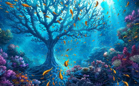 ocean tree hd artist  wallpapers images backgrounds