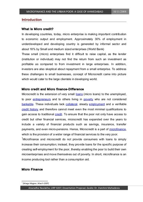 microfinance dissertation thesis