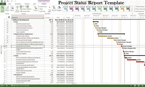 microsoft project status report template project