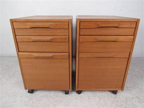 pair of mid century teak filing cabinets by denka