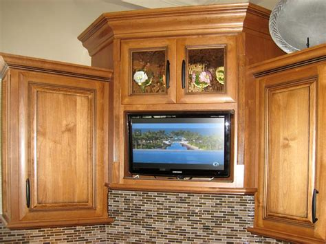 tv in kitchen cabinet custom kitchen cabinets