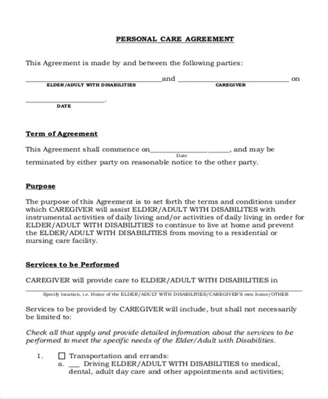 personal services agreement template caregiver agreement form ichwobbledich