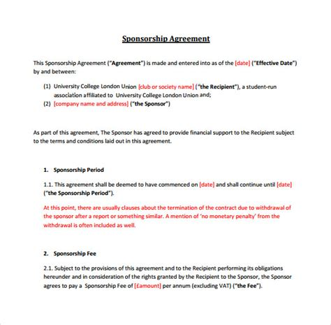 sponsor agreement template sle sponsorship agreement 12 documents in pdf word