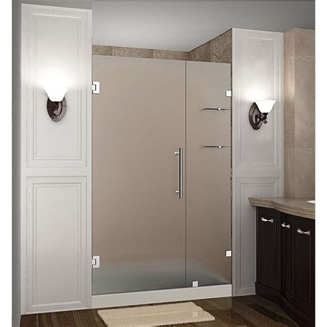 Shower Doors Frosted Glass Aston Nautis Gs 44 In X 72 In Frameless Hinged Shower Door With Frosted Glass And Glass