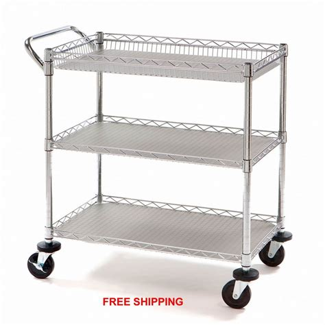 Kitchen Bar Cart by Utility Push Cart Rolling Heavy Duty Restaurant
