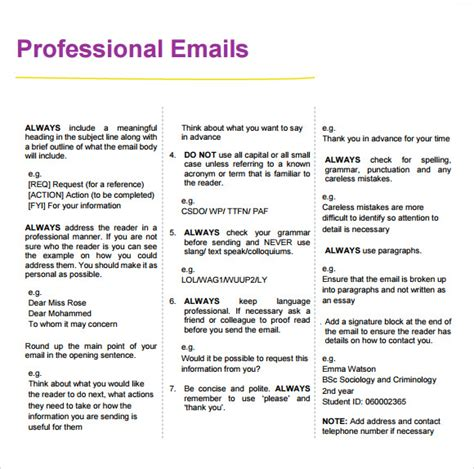 sle professional email 7 exles format