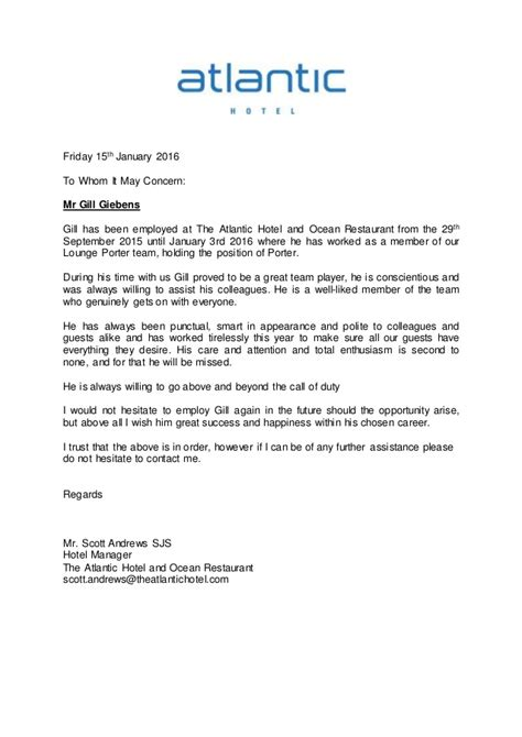 Letter Of Recommendation Hospitality reference letter atlantic hotel