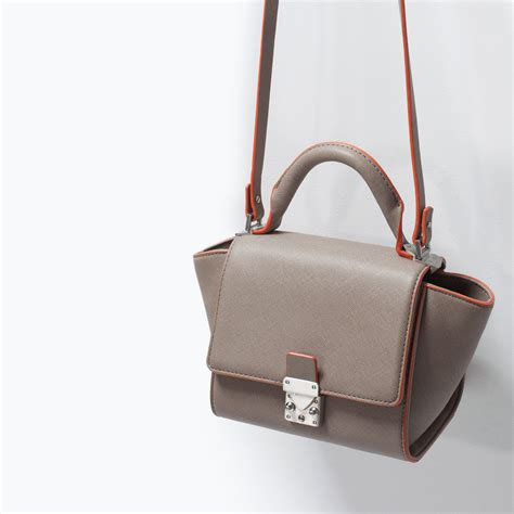 Tas Zara Satchel Top Handle Messenger Crossbody Bag Import Murah zara structured mini messenger bag with buckle in brown lyst