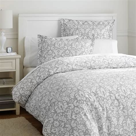 comforter protector damask duvet cover sham light gray pbteen