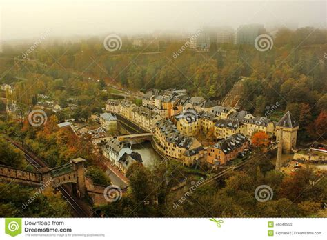 Lu Fog L aerial view of lower part of luxembourg in a autumn day with fog stock photo image 46046500