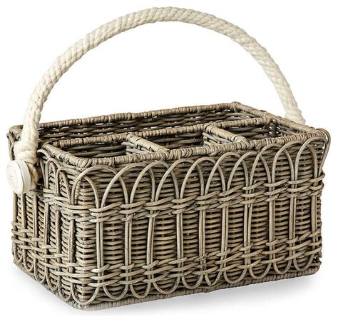 silverware rubber st wicker utensil caddy transitional baskets by bliss