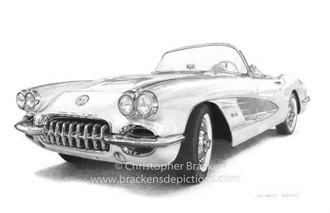 vintage corvette drawing 1958 corvette drawing www brackensdepictions com art