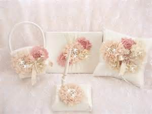 wedding set basket and pillow guest book