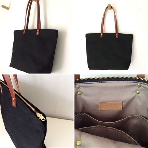 Tote Bag Book Custom Tote Bag Water Resistant Tahan Air custom bag large zipper tote waxed canvas and leather water resistant black with brown