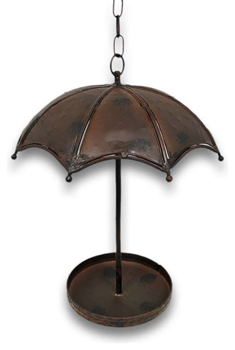 charming metal umbrella hanging bird feeder traditional