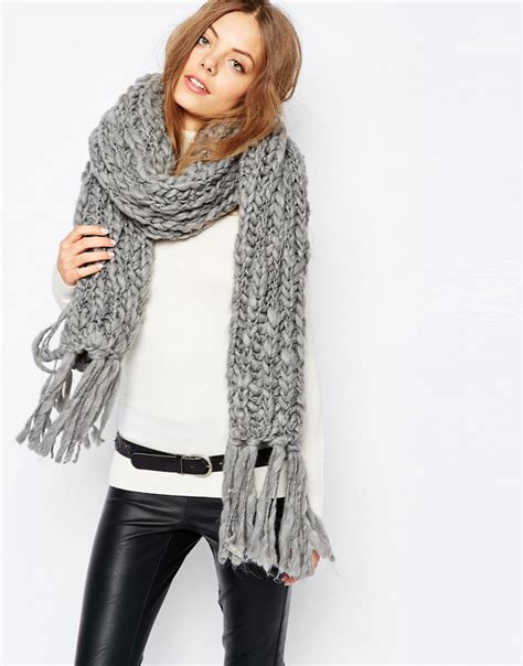 pieces pieces chunky knit blanket scarf at asos