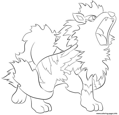 pokemon coloring pages growlithe 059 arcanine pokemon coloring pages printable