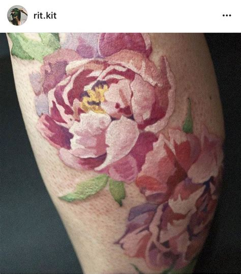 watercolor peony tattoo lineless peony interesting idea for my peony