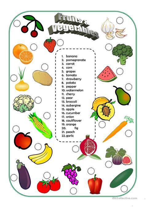 vegetables y fruits fruits and vegetables worksheet free esl printable