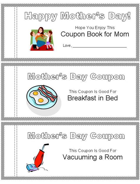 printable mother s day coupon book template printable mother s day coupon book kid crafts pinterest