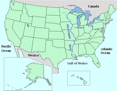 map of usa bodies of water map of bodies of water in the united states clipart