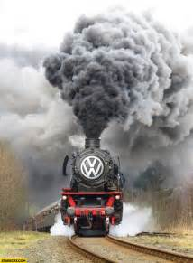 Volkswagen logo steam engine train massive smoke starecat com
